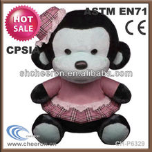 Hot sale lovely monkey plush doll with clothes and hat