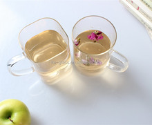 450ml/500ml newly design square/round shape promotional eco-friendly clear pyrex custom glass coffee mug with handle