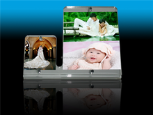 Clear Acrylic Magnetic Picture Frame for Tabletop, Transparent Acrylic Inclined Back Magnetic Photo Frame