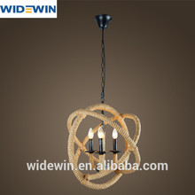 Venda quente 3*e14 luz ferro- corda de juta em forma de esfera lâmpadas tamanho pequeno d430mm