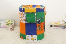 pop up cotton round shape cloth bucket of storage bin/pop up can shape canvans stackable storage bin/storage hamper