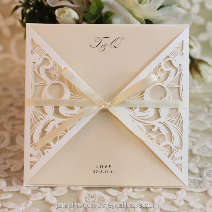 2014 Cheap Ivory Laser Cut Lace Wedding Invitations - Buy Laser Cut ...