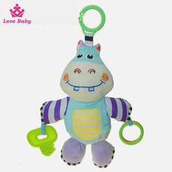 Top sale hippo cartoon shaped stuffed activity hanging toys for babys LBT20160119-11