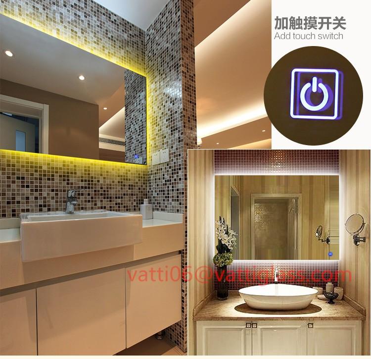 Luxe de style europ en salle de bains miroir avec la lumi re led carr toilettes miroir sans - Miroir salle de bain chauffant ...