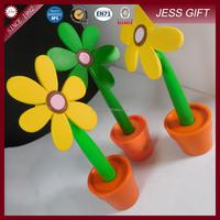 Hot selling Soft rubber flower pen pot culture shape potted pen