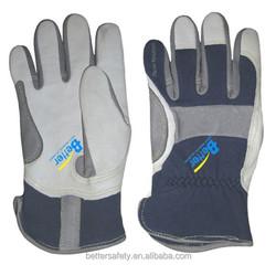 Flame retardant cotton fabric back Goatskin Leather Work Glove Direct Buy China