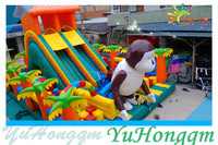 Hot Selling and New Design Jungle Cartoon Inflatable Amusement Park Fun City with Obstacle for Kids and Adults