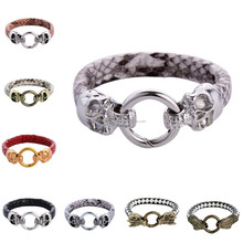 stainless steel leather skull stingray snake skin bracelet
