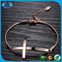 Cross Connection Snake Chain Bracelet Rose Gold Plated Gold Chain Bracelet 2016