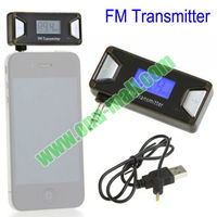 Wholesale FM Transmitter Car with Mini LCD Hands Free 3.5mm Audio Car for iPhone 5/4/Samsung Galaxy S4/3, etc