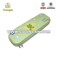 Personalized tin pencil box with zipper metal pencil case