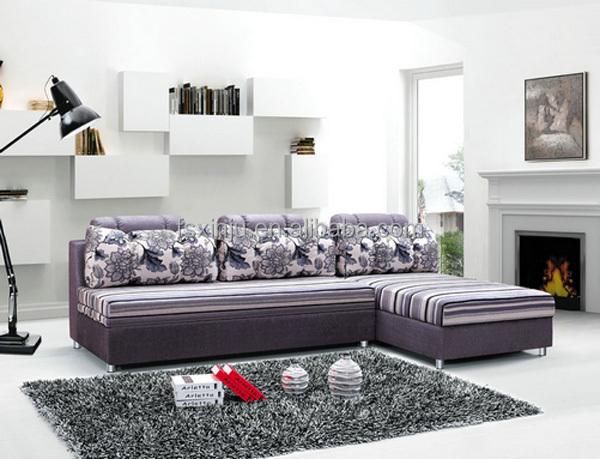 Living muebles de la sala en forma de l sofá cama de tejido/en ...