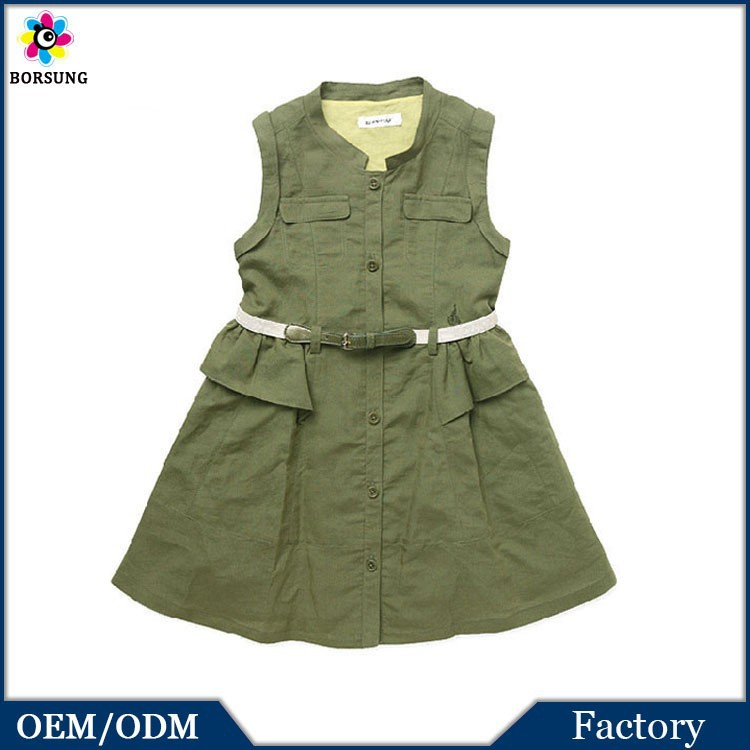 Korean Fashion Girl Style New Model Casual Dresses Army Green Ruffled Kids Clothes