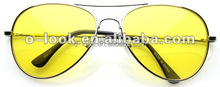 New Night Vision DRIVING AVIATOR Mens Womens YELLOW Lens Sunglasses