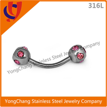 New arrival stainless steel eyebrow with ball Zircon fit for eyebrow piercing
