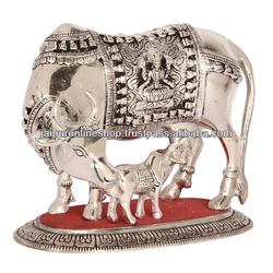 Small White Metal Cow And Calf