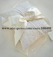 Free Shipping White ivory bridal Ring Pillow Bearer Cushion for Wedding