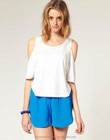 Yigelila Brand 718 Ladies Short Off White T-shirt Fashion Women Sexy T-Shirt