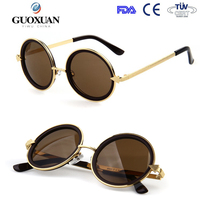 Metal insert sunglasses famous brands retro round glasses for men