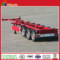 2/3 axles 20ft-40ft or 45ft skeleton container semi trailer air suspension chassis with flatbed high bed type optional