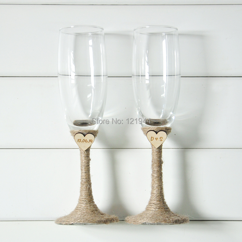 wedding glasses set rustic wedding champagne toasting flutes