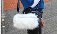 Fashion long handle pu ladies fake fur white bag