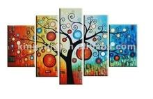 2015 newest design 5panel handmade abstract money tree/flower oil painting on canvas 5panels HKAP104