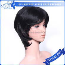 Wholesale alibaba black color synthetic wigs shenzhen, shenzhen hair short cut wig for women, silicone cap for wig
