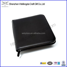 leather padfolio office stationery document /card holder with zip