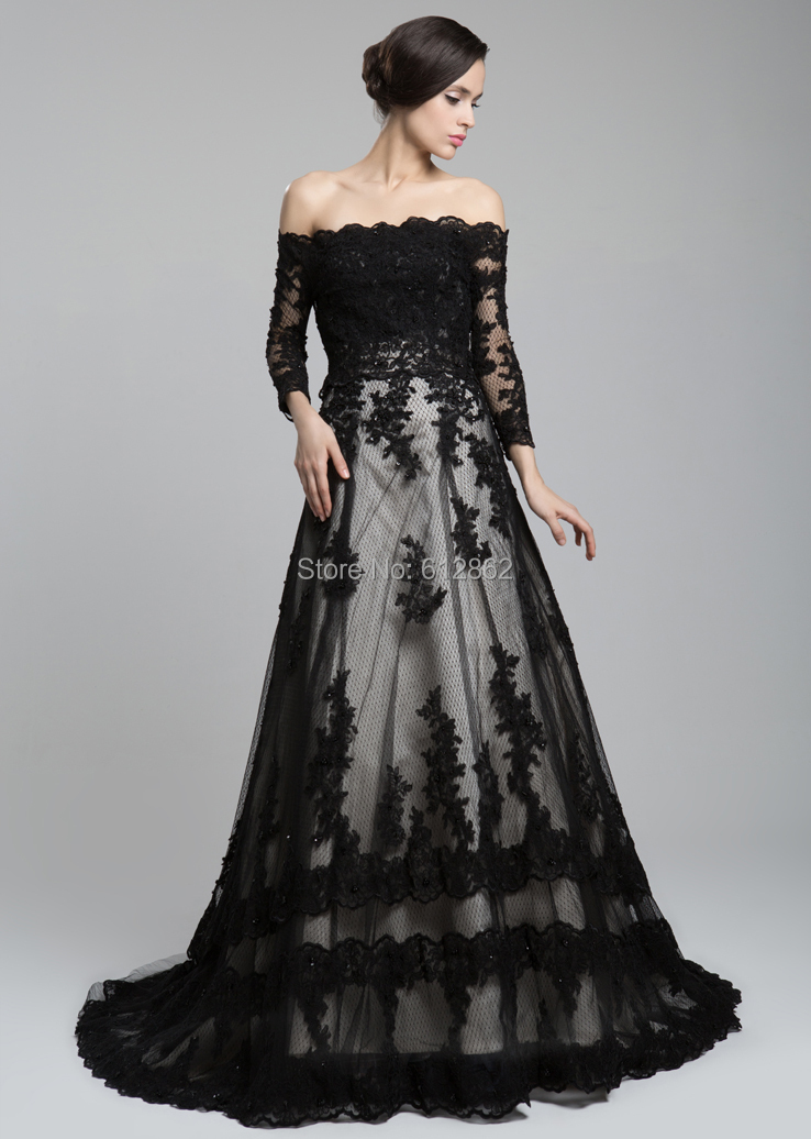 Black dress with long train dress on sale for Black long sleeve wedding dresses