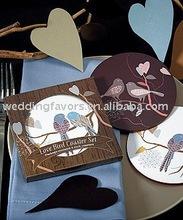 Love Birds Cork Back Coaster Set in Gift Packaging