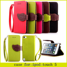 2015 Leave shape flip cover leather case with straps for Smart phone protective case for ipod touch 5