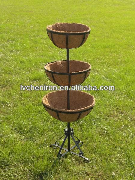3 Tiered Tower Coconut Husk Liner Garden Flower Pot Plant