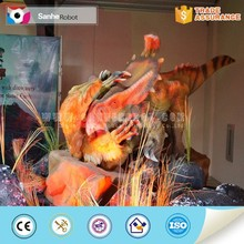 Group fighting animatronic halloween robotic dinosaur