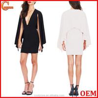 Latest new design long sleeve cape dress knitted evening dress 2015
