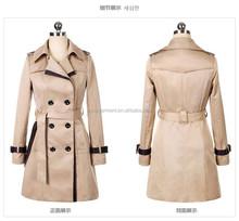 Women dust coat 2015 new design with leather woolen long trench coat overcoat jacket parka outwear women coat factory wholesale