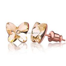 Wholesale fashion silver butterfly stud earrings with crystal for girl