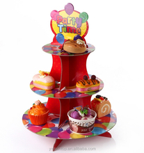 Party Time Ballon Pattern Paper Cupcake Stand 3 Tier Cardboard Cupcake Stand