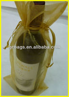 2013 promotion Gold color organza wine bottle bags