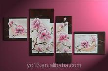 4pcs panel home decor flower artwork