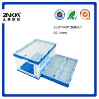 Robust wall collapse plastic storage container,attached-lid storage box