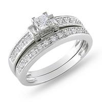 SJIR0179 Princess Cut Man-made Diamond Engagement Ring Bridal Set 14K SZ6/7/8/9