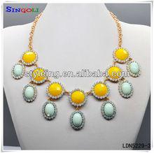 Autumn Sunflower Circle Rhinestone Necklace Fashion Jewlery LDN5229