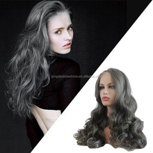 2015 the newest unique grey human hair silky natural wave full lace wig
