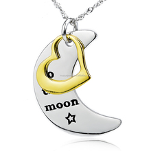 Personalized design moon and heart tag 925 sterling silver pendant necklace