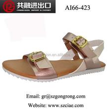 fashion latest design comfortable lady sandals simple casual soft srtap flat buckle women shoes