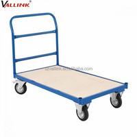 single handle open ended wood platform steel trolley carts
