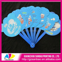 Wholesale plastic pp advertising hand fan with long handle for both sides printed