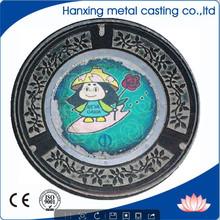 Diseño fabricación de la venta - servicio pesado dúctil deber tapa de alcantarilla de hierro y el marco