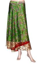 Vintage Indian Two Layer Boho Hippi Magic Silk Wrap Skirt